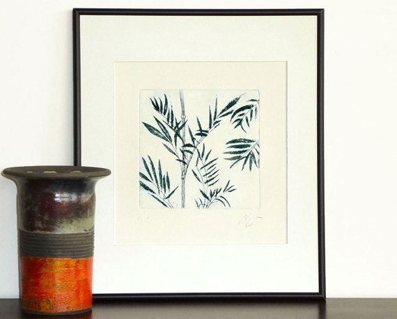 Original Etching Print Aquatint BAMBOO LEAVES Tree Asian Fine Art Botanical Wall Decor Hand Pulled Print 10x10