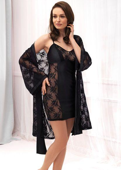 Black Lace Dressing Gown - Vanilla Night & Day | Knicker Locker