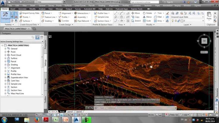 Curso de Autocad Civil 3d 2014 parte 6 Diseño de Carretera -Dibujo del P...
