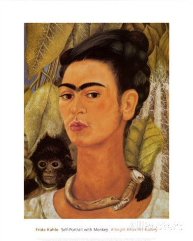 Self-Portrait with Monkey, c.1938 Prints by Frida Kahlo at AllPosters.com