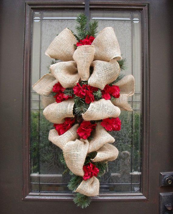 Christmas Wreath Burlap Burlap Swag Hydrangea and by LuxeWreaths