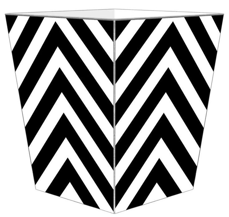 Black and White Chevron Grande Wastebasket with Optional Tissue Box. Product in photo is from www.wellappointedhouse.com