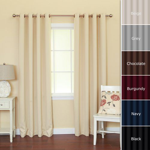 save on solid grommet top thermal insulated blackout curtain 84 inch length by 52 inch. Black Bedroom Furniture Sets. Home Design Ideas