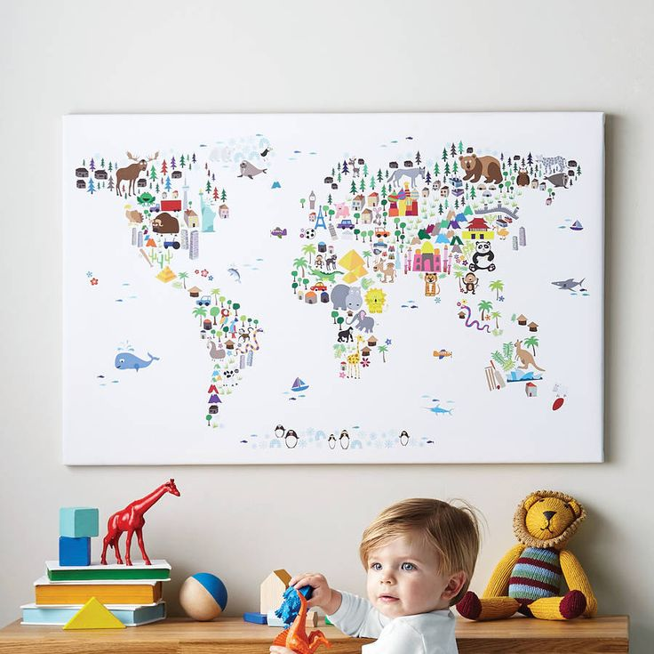 Animal World Map Print