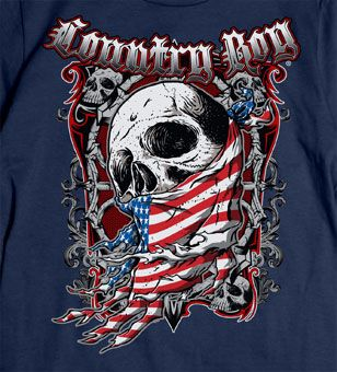 Navy - Country Boy ® Flag Skull Tee