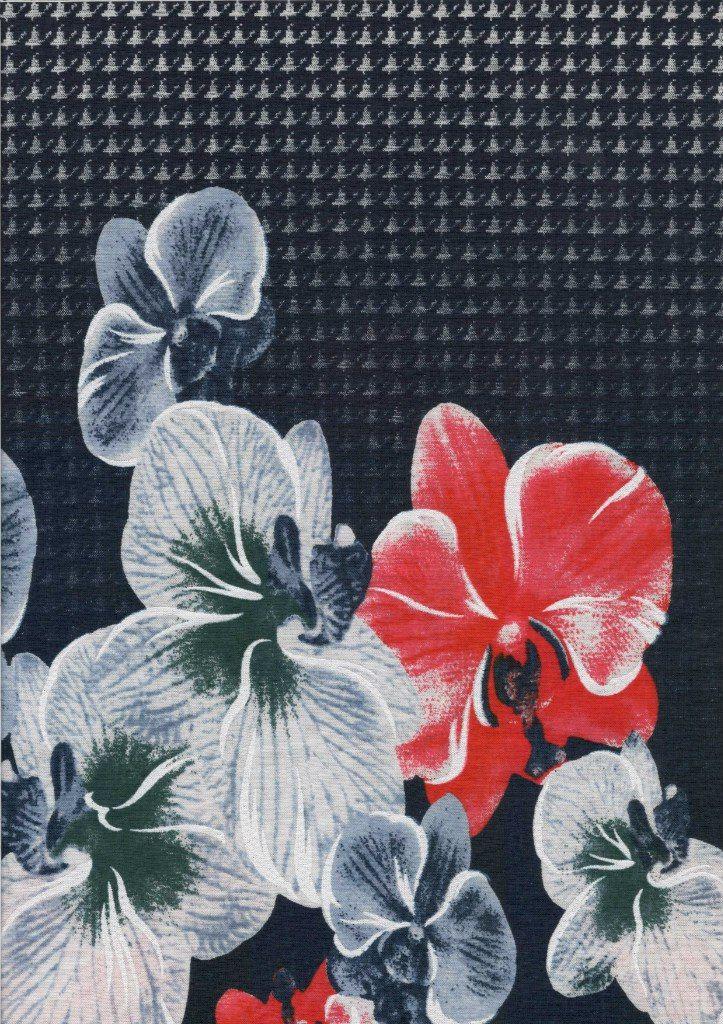 3329 - купон цветок крупн + гусиные лапки 2-нитка OE 100% х/б; 180 см; 180 гр; начёс - 8,65 $