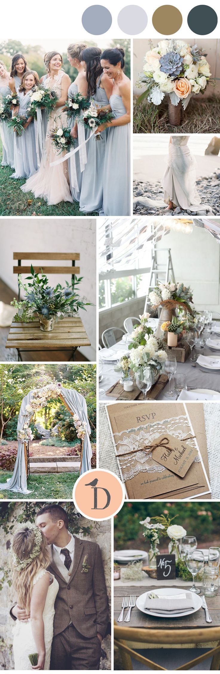 Slate grey and chocolate brown make a stunning combination that's particularly great as a winter wedding color scheme. Combine with lots of natural textures like wood or stone, and you create a look that is both timeless and modern. Ivory or blush make lovely highlight colors with this scheme, and can add femininity