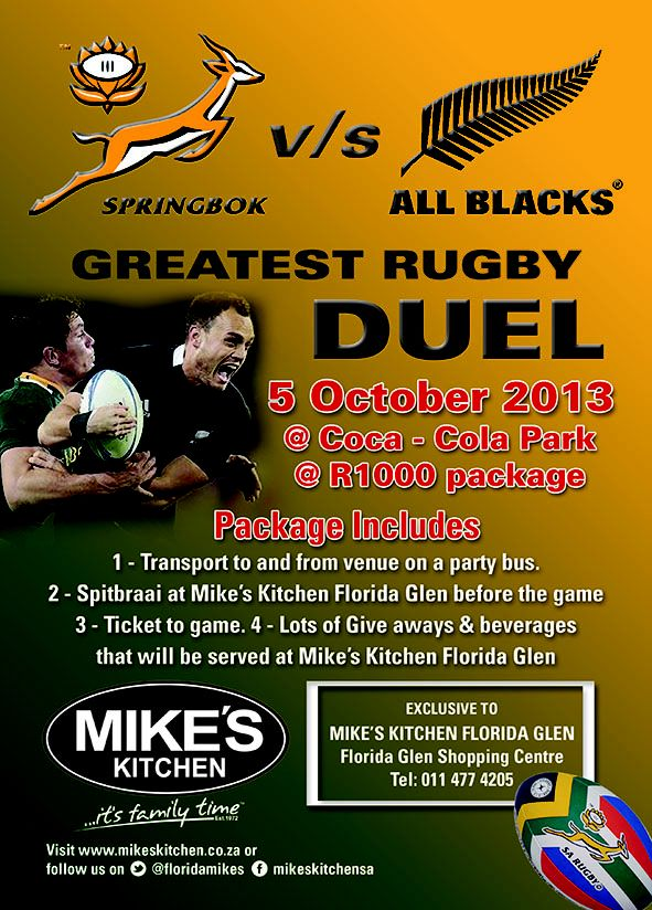 Mike's Kitchen Florida Glen - Springbok vs All Blacks Greatest Deal Rugby Duel