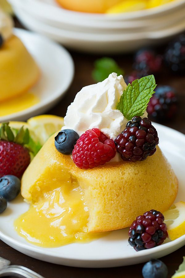 Could work with GF flour... Lemon Molten Lava Cakes - Cooking Classy