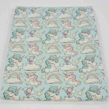 Tissus sweat bouclette léger  motifs licornes sur nuages. label oéko tex  Prix pour 50 cm de tissu. Pour commander 1 m prendre quantité 2, pour 1.50 m quantité 3 etc ...   - 9214945