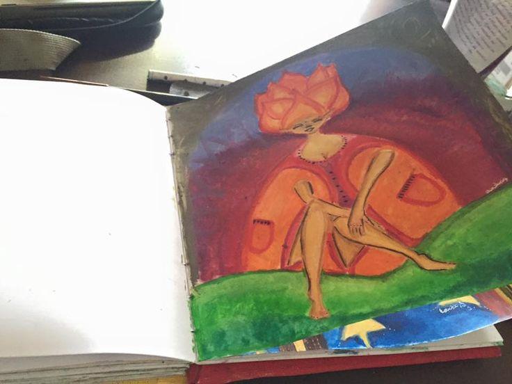 diosa, sol, ilustración, carandache, acuarelas, color, mujer, naranja, dibujo, paint, infantil,
