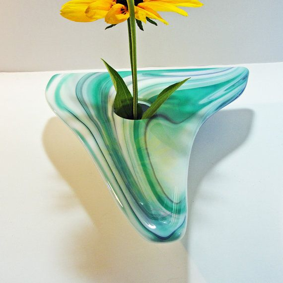 Florero de Ikebana de cristal fundido grande lila por sljglass
