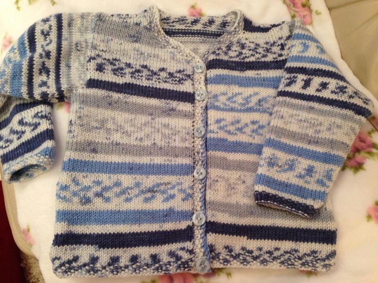 I used self patterning wool to hand knit this child's cardigan.