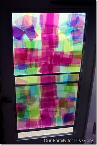 """They made the Cellophane """"stained glass"""" cross from our Sense of the Resurrection series! (And this one is way cuter!) :)"""