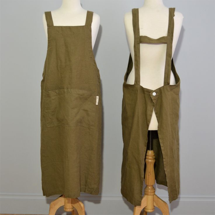 Adult 100% stonewashed French linen apron in Olive colour.
