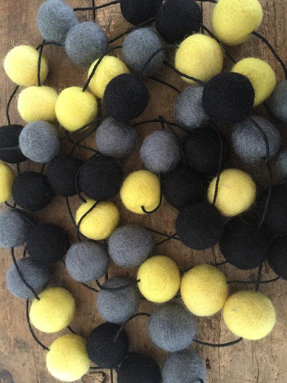 Fair Trade Wool Felt Ball Garland BATMAN Colours 2cm by CactusCo