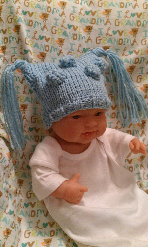 Knitted Newborn Boy Elf Type Hat with Tassels  by ConnMorCreations, $16.00