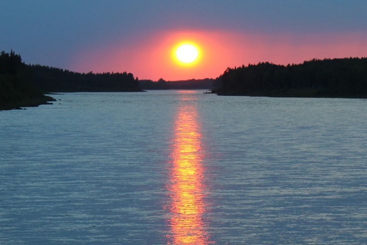 Midnight Sun in the Tornio River Valley in Lapland