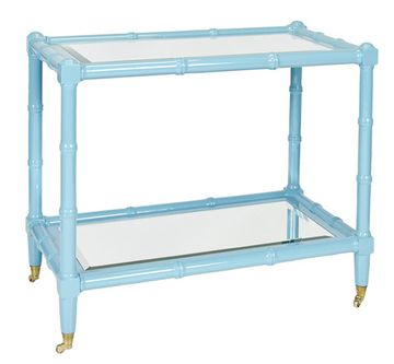 """Palm Beach style bar cart in faux bamboo with a beveled mirror top.This item is available in turquoise, green and white.32"""" H x 37"""" W x 20"""" D"""