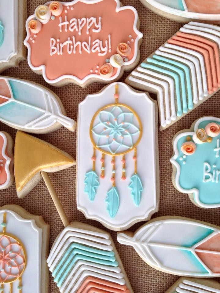 bohemian dream catcher cookies more iced cookiessugar cookiesbirthday cookiesdreamcatcherscookie ideascookie decoratingdecorated - Sugar Cookie Decorating