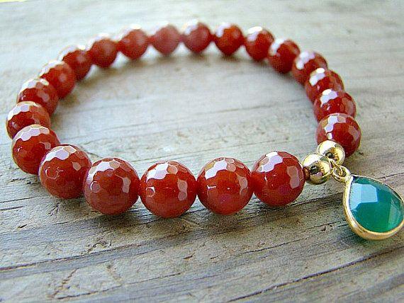 Gemstone Stretch Bracelet, Carnelian, Green, Onyx, Gold Bead Stacking Bracelet, Beaded Bracelet by BeJeweledByCandi, $38.00