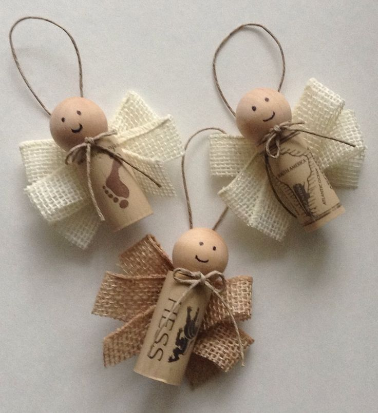 Wine Cork Angel Ornament Set of 3 by TheSimpleUpcycler on Etsy