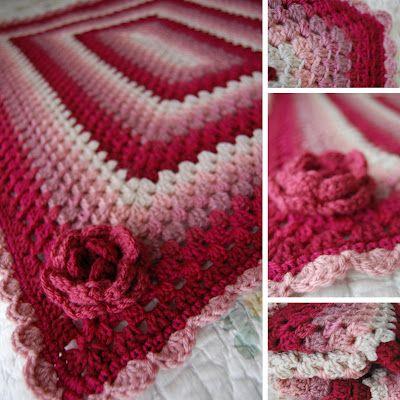 Rose granny rectangle afghan: Afghans Complete, Rose Crochet Blankets Squares, Crochet Afghans, Crochet Rose, Rose Granny, Red Rose, Tillys Tulip, Rectangle Afghans, Handmade Mishmosh