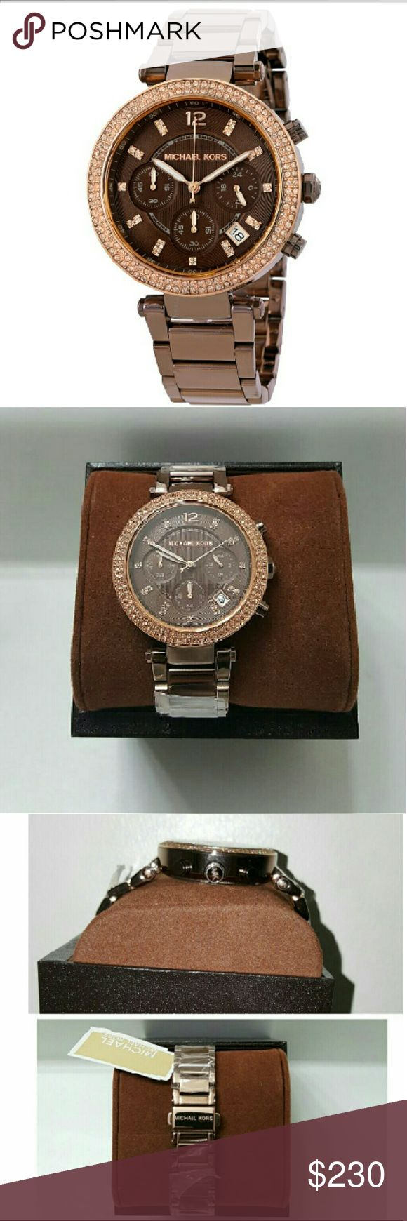 NWT Michael kors chronograph Parker watch MICHAEL KORS Parker Chronograph Ladies Watch    Firm price  $245.00  . AUTHENTIC WATCH  . AUTHENTIC BOX  . AUTHENTIC MANUAL    SHIPPING  PLEASE ALLOW FEW BUSINESS DAYS FOR ME TO SHIPPED IT OFF.I HAVE TO GET IT FROM MY WAREHOUSE.    THANK YOU FOR YOUR UNDERSTANDING. Michael Kors Accessories Watches