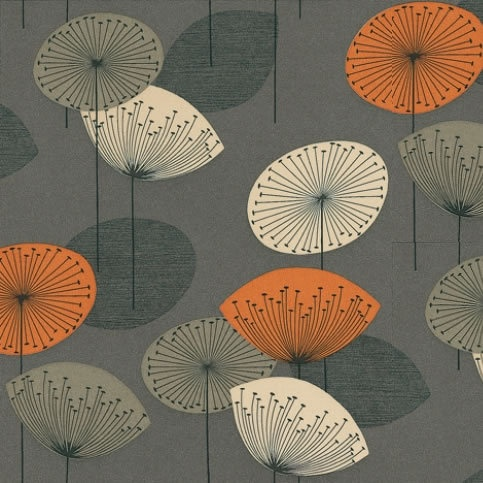"orange and grey: pattern.    ""A funky retro design of stylised dandelion heads with seeds radiating from a central point."""