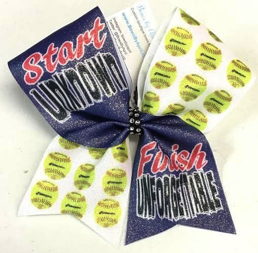Bows by April - Start Unknown Finish Unfogettable Glitter Softball Bow, $15.00 (http://www.bowsbyapril.com/start-unknown-finish-unfogettable-glitter-softball-bow/)