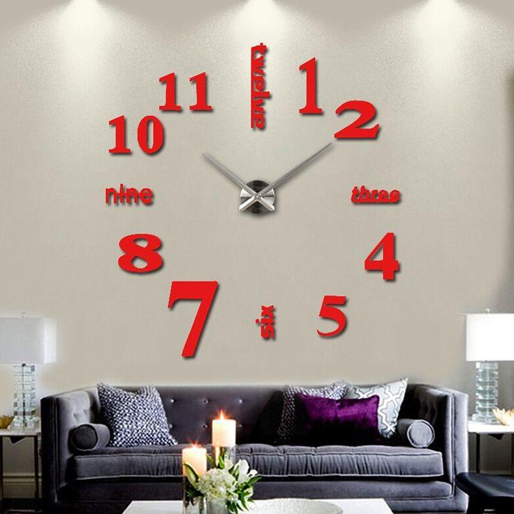 Trendy 3D Living Room DIY Sticker Home Decoration Wall Clock
