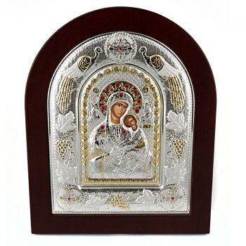 Εικόνες : Ασημένια Εικόνα με την Παναγία με Επίχρυσες Λεπτομέρειες σε Καφέ Ξύλο MA/E3115BX
