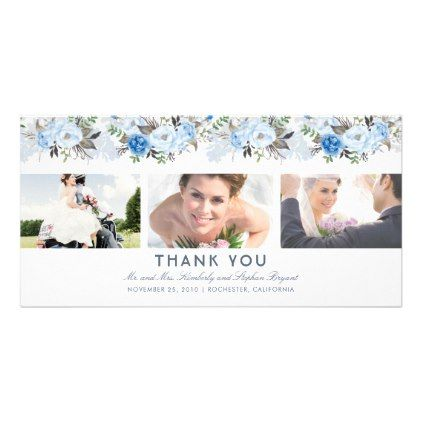 Dusty Blue Floral Wedding Thank You Photo Card - photos gifts image diy customize gift idea