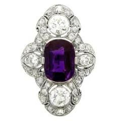 Antique Natural Unenhanced Amethyst and Diamond Ring by Dreicer & Co $13,629