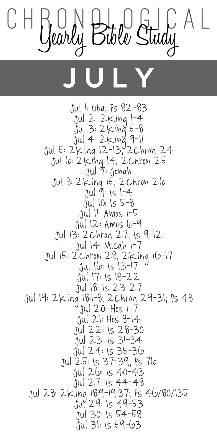 Here's the July Bible Study Guide! Chronological Bible Reading