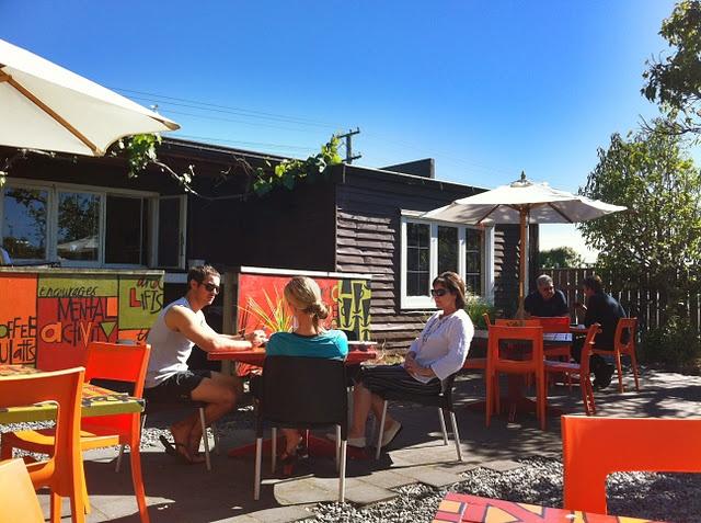 Bay Espresso Karamu Road courtyard out the back. Suntrap. Bring suncream.