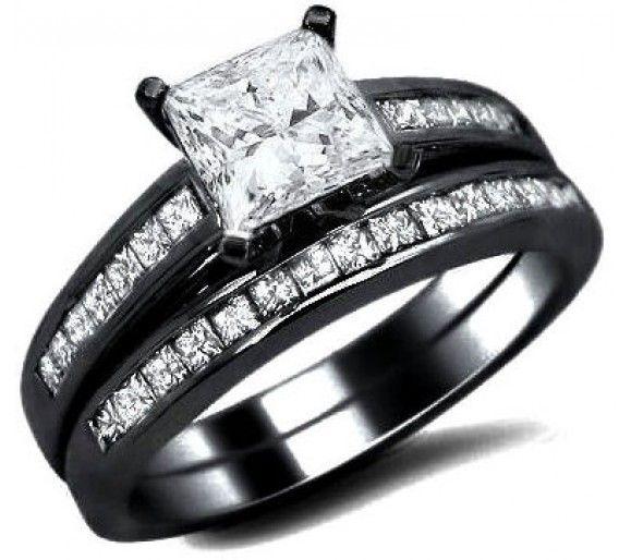 1.71ct Princess Cut Diamond Engagement Ring Bridal Set 14k Black Gold