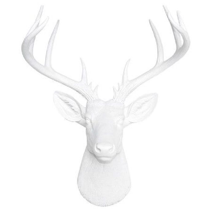 "This stunning large faux white deer head is sure to spark conversations in your home. Our large white deer head is one of our most popular pieces of hanging wall decor because it matches all types of home décor and will make a statement in your home or office.  Show off your love for animals by displaying this beautifully crafted and detailed resin deer head, which of course is cruelty-free. Our faux taxidermy animal heads are modern, trendy, and animal-friendly.  21"" tall, 18.25"" wide, 13"""