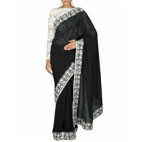 Black georgette saree with embroidered border. Shop Now http://bit.ly/1IjKGls