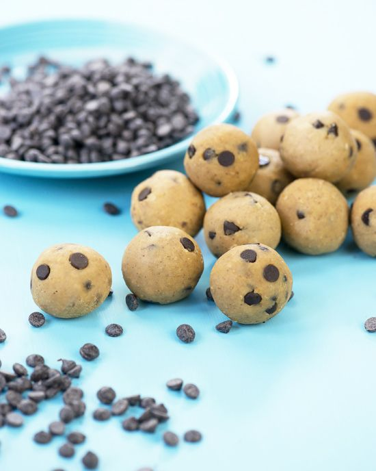 Chickpea Cookie Dough Balls | A Dash of Compassion:1½ cups cooked chickpeas (or one 13.5 oz can) 3 tbsp pure maple syrup 2 tbsp natural smooth peanut butter 1 tsp pure vanilla extract ½ tsp ground cinnamon ¼ tsp sea salt 2 to 3 tbsp mini chocolate chips or cacao nibs