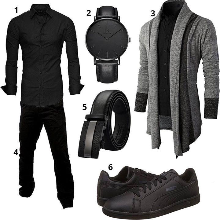 Schwarzer Männer-Style mit Strickjacke (m0383