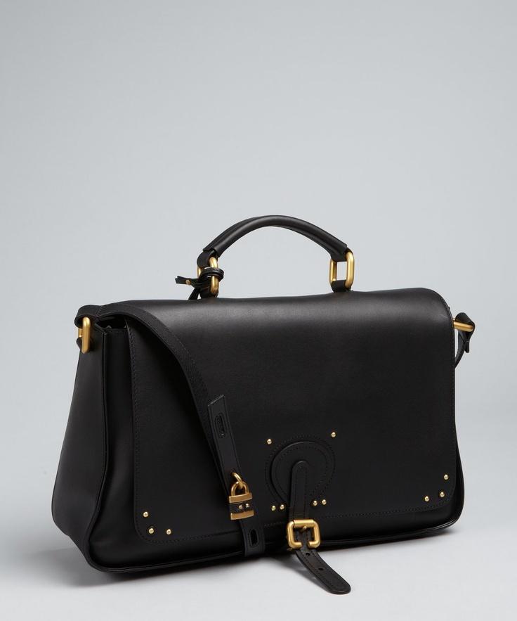 Chloe black leather briefcase style crossbody bag | BLUEFLY up to 70% off designer brands
