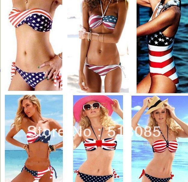 ba0a4270513 Aliexpress.com : Buy 2013 New Women Stars Stripes USA American Australia UK  Flag One Piece Bikini Monikini Padded Twisted Bandeau Tube …
