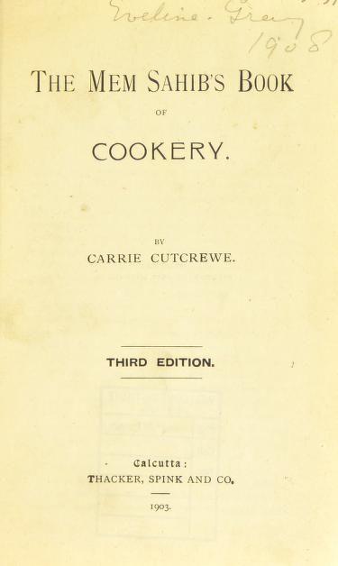 The mem sahib's book of cookery