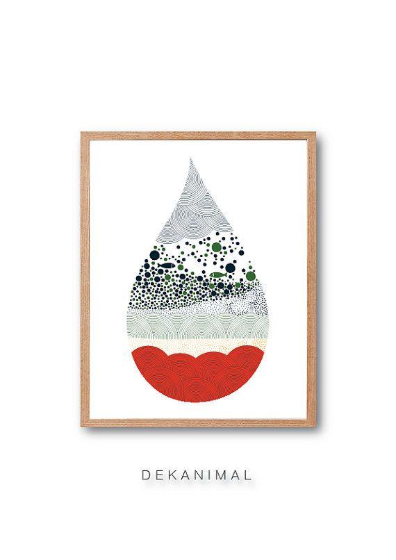 L'eau goutte poisson réservoir Art Print Decor par dekanimal
