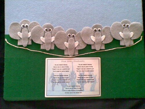 ♪♪ Felt Board Story Five Grey Elephants Nursery Rhymes Teacher Resource ♪♪ | eBay