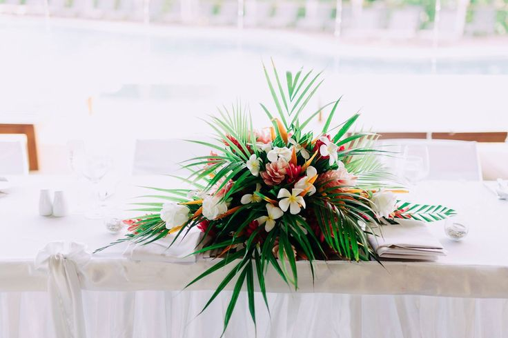 Outrigger Fiji Beach Resort Wedding Ideas Planning Inspiration Tropical Paradise Style Floral Design Planning Photography Arrangement Stunning White Table Setting Fern Green Centrepiece