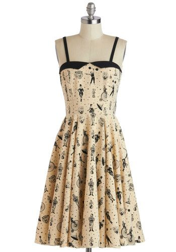 Clowning Around Dress - Long, Tan, Black, Novelty Print, Party, A-line, Spaghetti Straps, Sweetheart, Vintage Inspired, 50s, 60s, Quirky, Summer