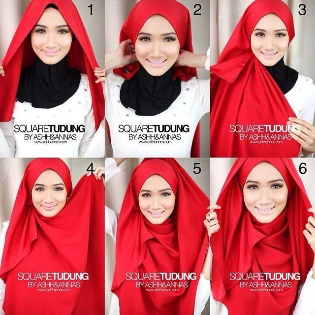 hijab tutorial segi empat untuk pesta