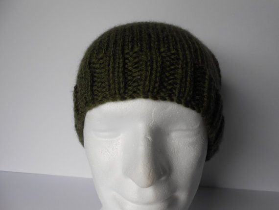 Slouchy Green Hat. Mens  Beanie Hat. Chunky Winter by AluraCrafts